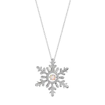 Sterling Silver Lab-Created Opal Snowflake Pendant Necklace