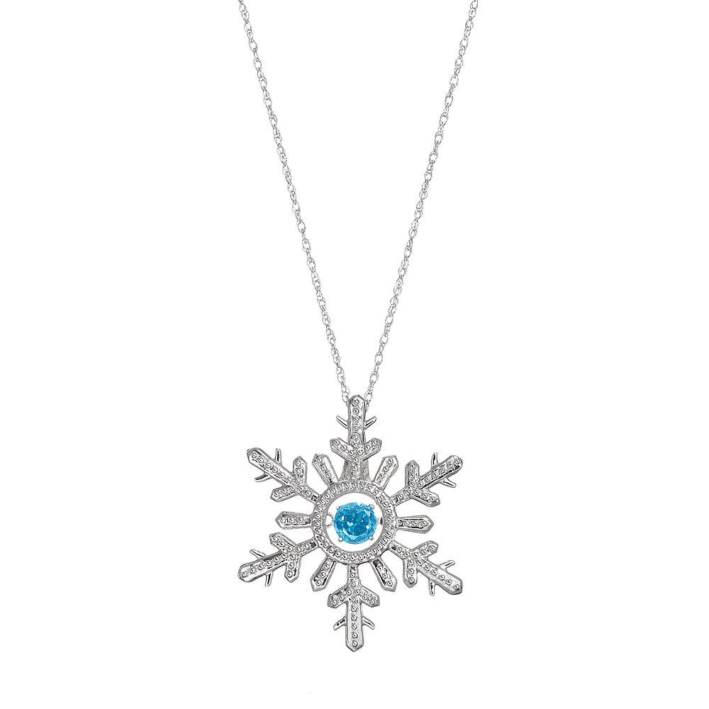 67ebdbd5747bcb Sterling Silver Swiss Blue Topaz Snowflake Pendant Necklace