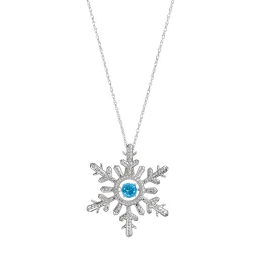 Sterling Silver Swiss Blue Topaz Snowflake Pendant Necklace