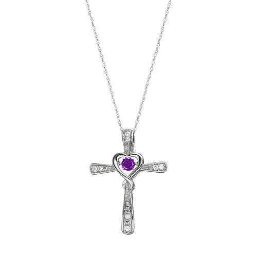 Sterling Silver Amethyst Cross Pendant Necklace
