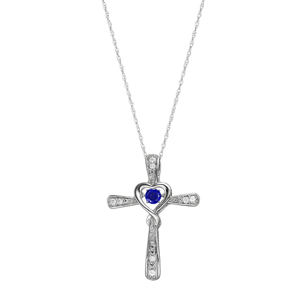 Sterling Silver Lab-Created Sapphire Cross Pendant Necklace