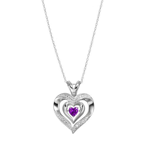 Sterling Silver Amethyst Sapphire Heart Pendant Necklace