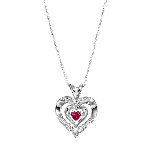 Sterling Silver Lab-Created Ruby Heart Pendant Necklace