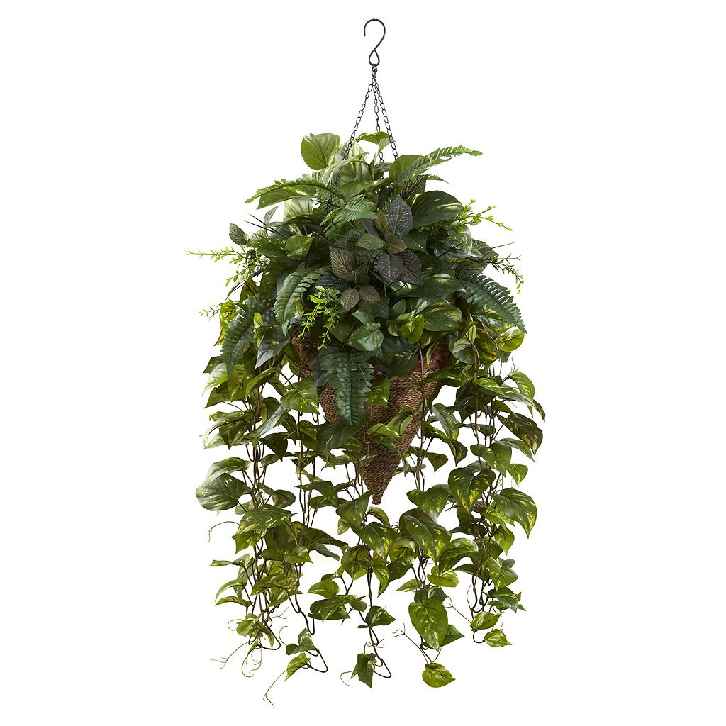 nearly natural Artificial Vining Mixed Greens Hanging Plant
