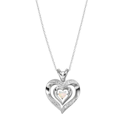 Sterling Silver Lab-Created Opal Heart Pendant Necklace