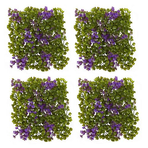 nearly natural Artificial Purple & Green Clover Mat 12-piece Set