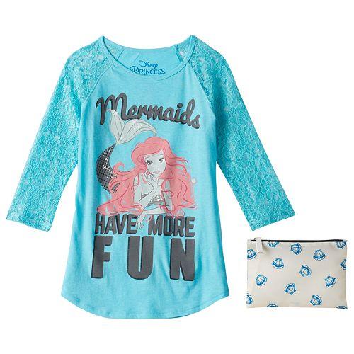 41d1a3e93 Disney Girls 7-16 The Little Mermaid Ariel Raglan T-Shirt