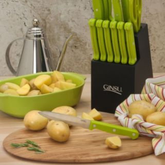 Ginsu Essential Series 14-pc. Natural Wood Knife Block Set