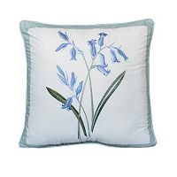 Always Home Josephine Blue Floral Square Throw Pillow