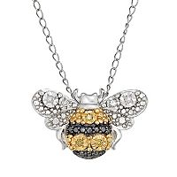 Sterling Silver Yellow & White Diamond Bumblebee Pendant