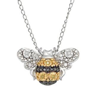 Sterling Silver Yellow & White Diamond  Bumblebee Pendant