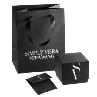 Simply Vera Vera Wang Sterling Silver Freshwater Cultured Pearl & Lab-Created White Sapphire Linear Drop Earrings