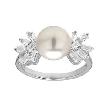 Simply Vera Vera Wang Sterling Silver Freshwater Cultured Pearl & Lab-Created White Sapphire Cluster Ring