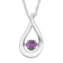 Sterling Silver Amethyst Teardrop Pendant Necklace