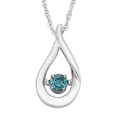 Sterling Silver Blue Topaz Teardrop Pendant Necklace