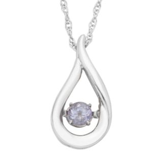 Sterling Silver Lab-Created Alexandrite Teardrop Pendant Necklace