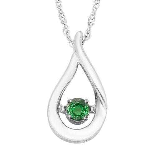 Sterling Silver Emerald Teardrop Pendant Necklace