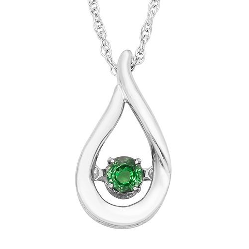 Sterling Silver Emerald Teardrop Pendant Necklace