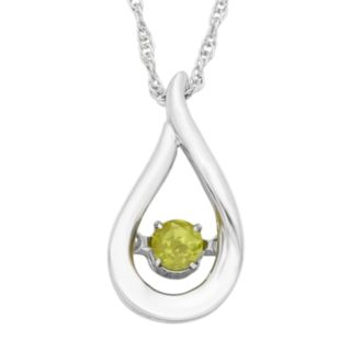 Sterling Silver Peridot Teardrop Pendant Necklace