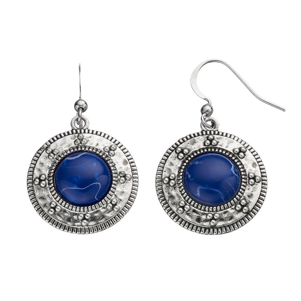 Blue Cabochon Drop Earrings