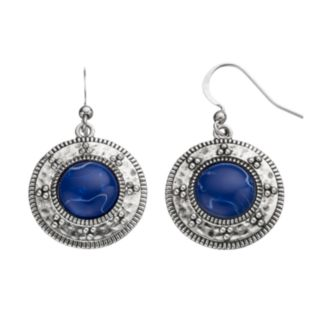 Blue Cabochon Drop Earrings