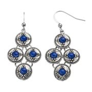 Blue Cabochon Kite Earrings
