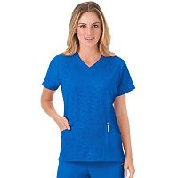 Plus Size Jockey Scrubs Modern Solid Illusions V-Neck Top