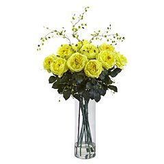 nearly natural Artificial Giant Fancy Rose & Willow Arrangement