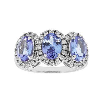 Sterling Silver Tanzanite & White Zircon 3-Stone Oval Halo Ring