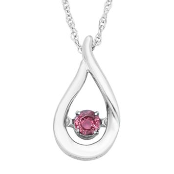 Sterling Silver Pink Tourmaline Teardrop Pendant Necklace