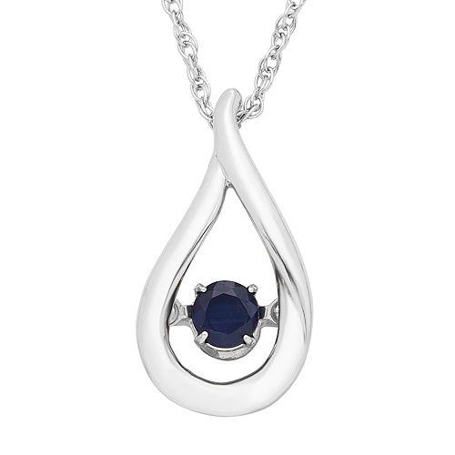 Sterling Silver Sapphire Teardrop Pendant Necklace
