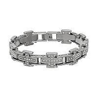 Men's Crystal Stainless Steel Cross Bracelet