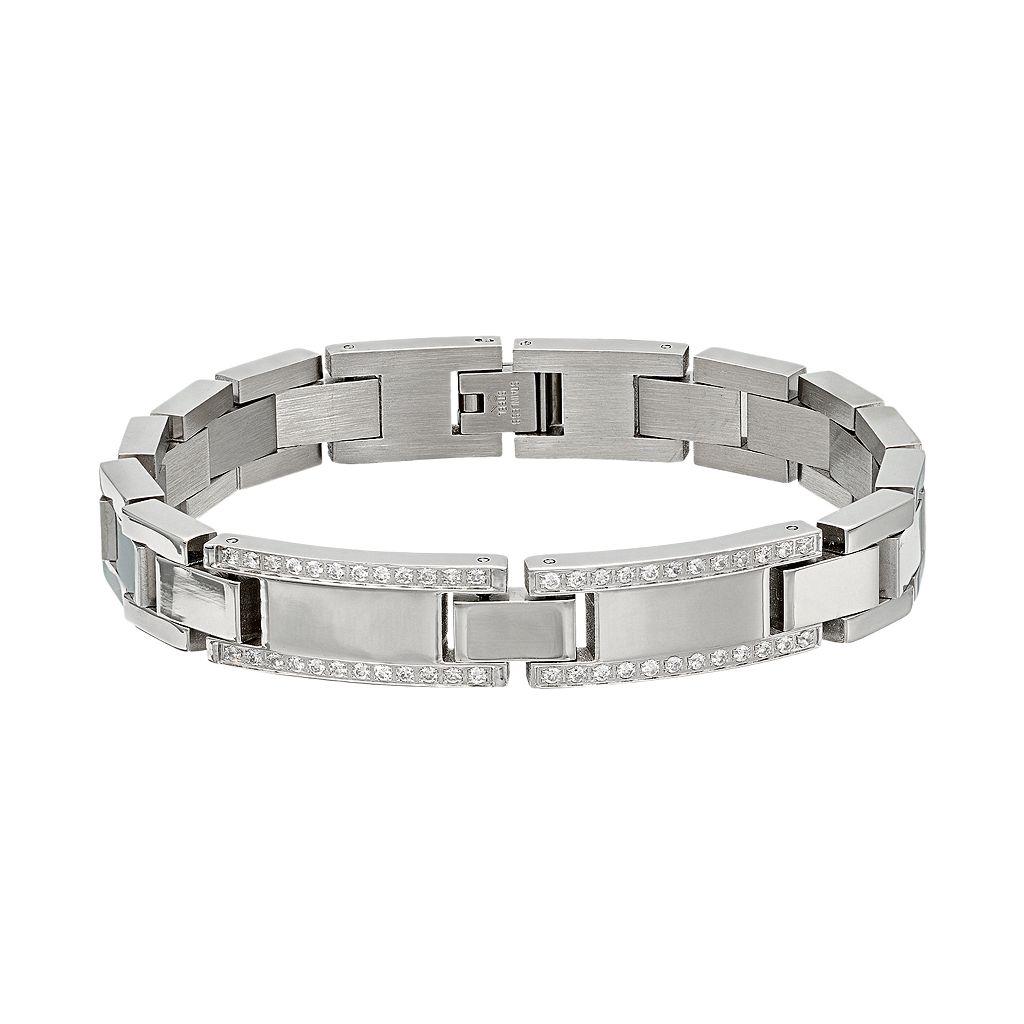Men's Cubic Zirconia Stainless Steel Bracelet