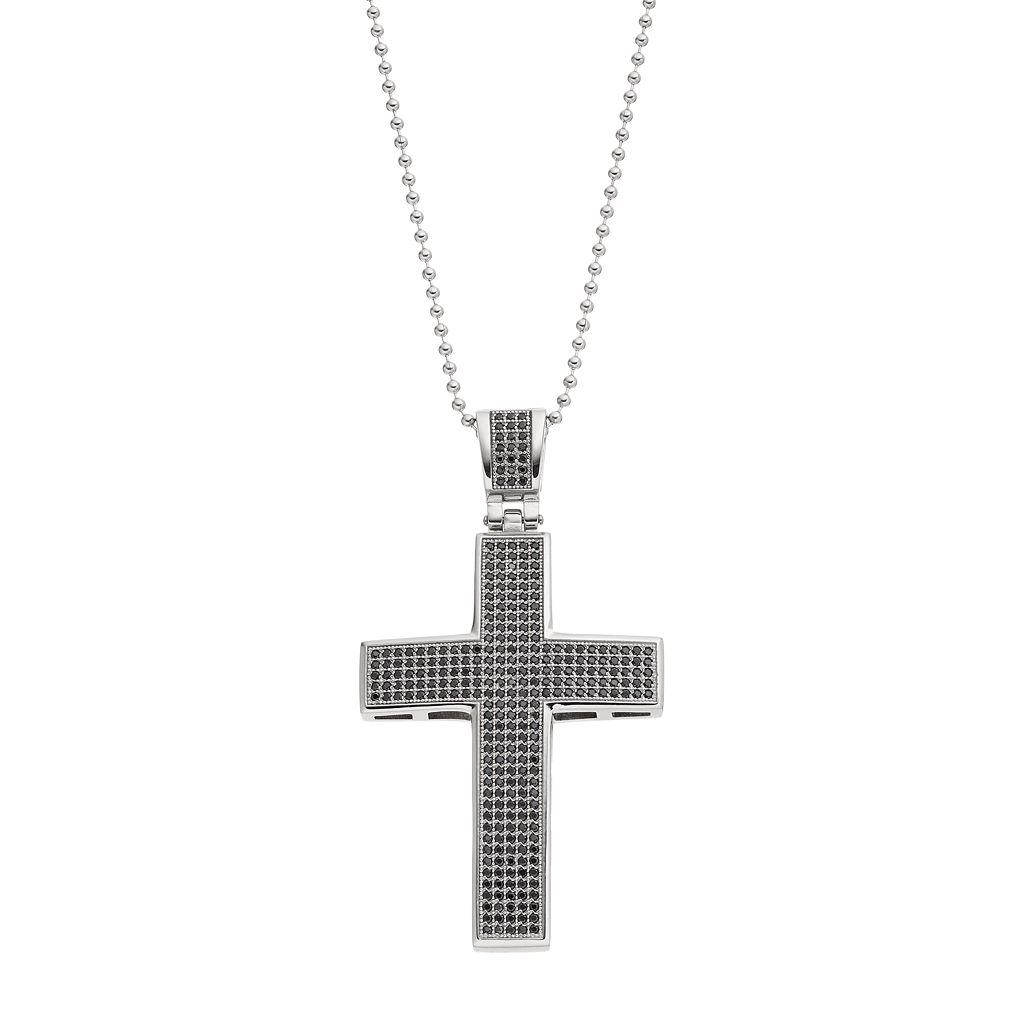 Men's Cubic Zirconia Stainless Steel Cross Pendant Necklace