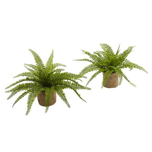 nearly natural Artificial Boston Fern Burlap Planter 2-piece Set