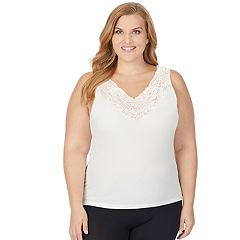 Plus Size Cuddl Duds SofTech Lace V-Neck Tank