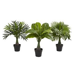 nearly natural Artificial Areca, Fountain & Banana Palm 3-piece Set