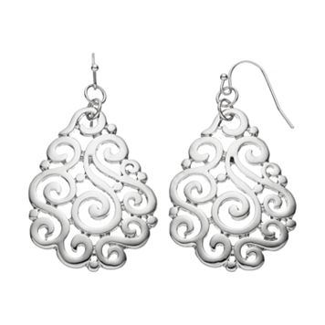 Openwork Filigree Teardrop Earrings