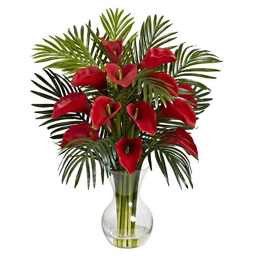 Nearly Natural Artificial Calla Lily Palm Arrangement