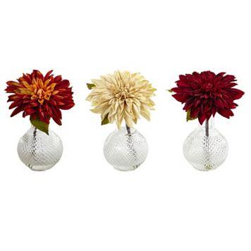 nearly natural Artificial Dahlias 3-piece set