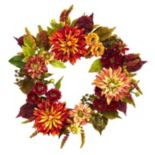 nearly natural Artificial Dahlia & Mum Wreath