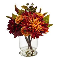 nearly natural Artificial Dahlia & Mum Arrangement