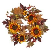 nearly natural Artificial Sunflower Burlap Wreath