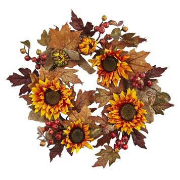 nearly natural Artificial Sunflower Burlap Wreath
