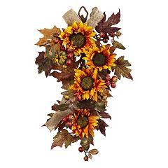 nearly natural Artificial Sunflower Burlap Teardrop Decor