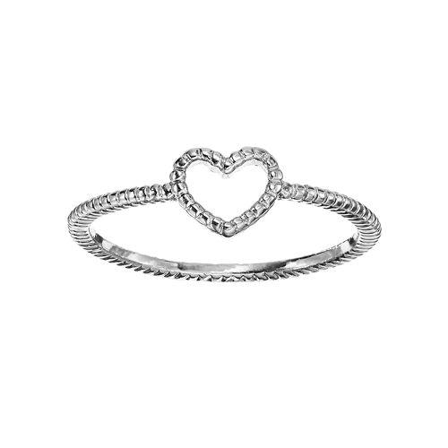 LC Lauren Conrad Textured Heart Midi Ring