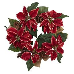 nearly natural Artificial Poinsettia & Burlap Wreath