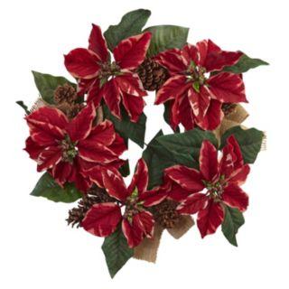 nearly natural Artificial Poinsettia & Burlap Wreath