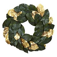 nearly natural Artificial Metallic Leaf Magnolia Wreath