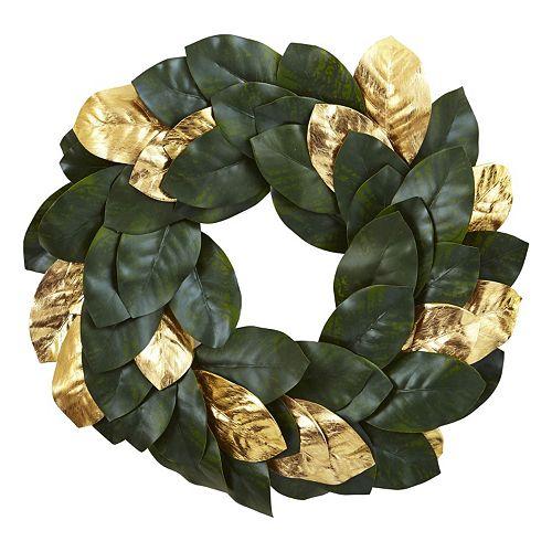 nearly natural Artificial Metallic Leaf Magnolia Wreath